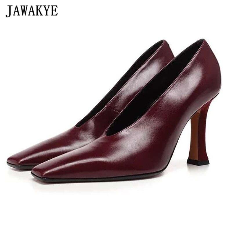 Autumn high heels lady pumps genuine letaher wedding shoes women square toe stiletto 2018 runway design