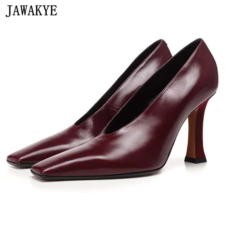 Autumn high heels lady pumps genuine letaher wedding shoes women square toe stiletto 2018 runway design Zapatos mujer цена