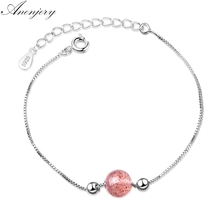 Anenjery Fashion Natural Strawberry Crystal Lucky Bead Bracelet For Women Gift Silver Color Baraclet S-B192