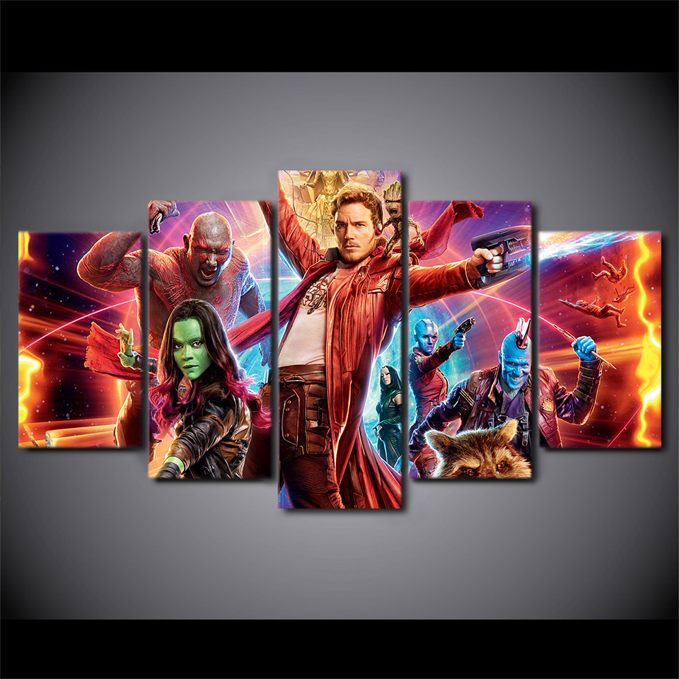 5pcs Guardians of the Galaxy Painting Print on Canvas Modern Wall Art Poster Wall Pictures for Living Room Hoom Decoration