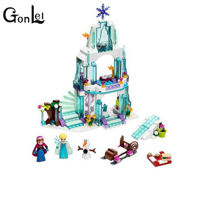 GonLeI sy372 25001 Princess Elsa's Sparkling Ice Castle Building Blocks Anna Olaf Bricks Toys Lepin Friends for Girl new 37008 561pcs girl friends princess anna and the princess castle building kit blocks bricks toys for children gift brinquedos