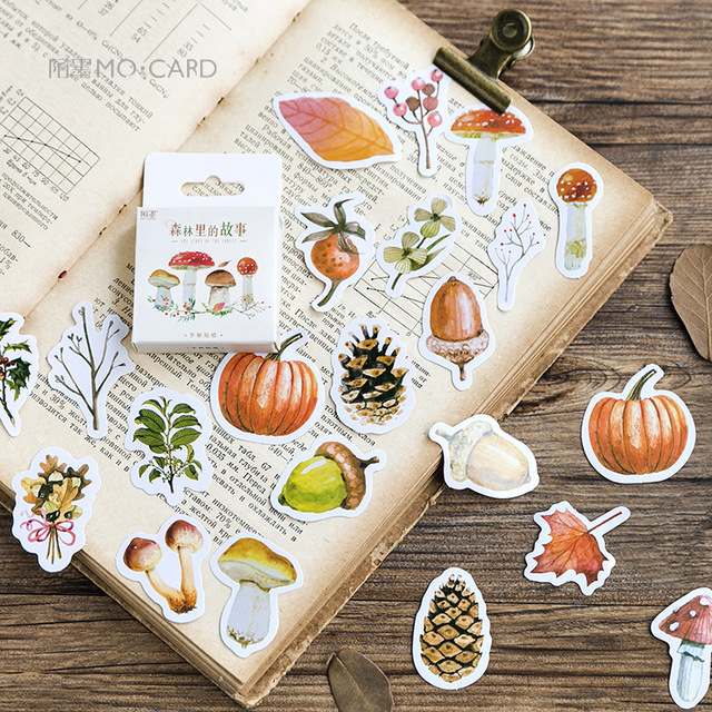 46Pcs/box Autumn of Forest Diary Sticker Kawaii Planner Scrapbooking Sticky Stationery Escolar School Supplies 4