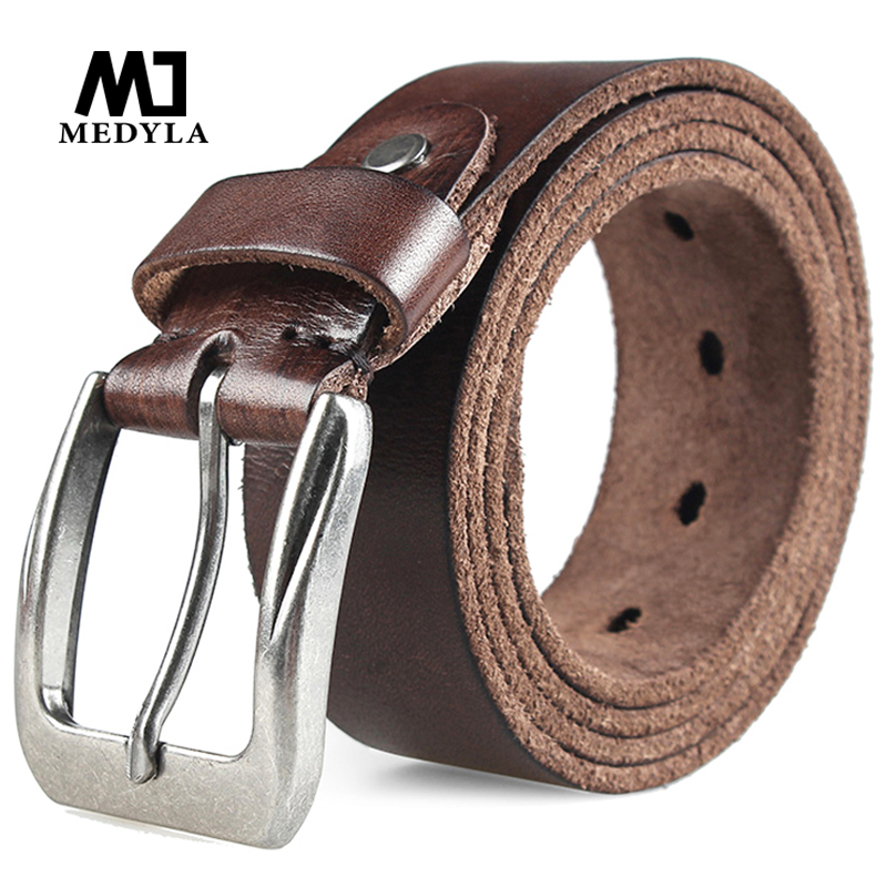 MEDYLA Men Top Layer Leather  Casual High Quality Belt Vintage Design Pin Buckle Genuine Leather Belts For Men Original Cowhide