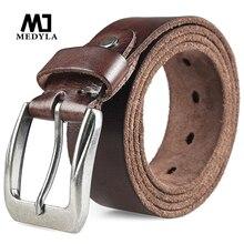 MEDYLA cinturón informal de cuero de alta calidad para hombre, cinturón masculino de cuero genuino con hebilla de Pin de diseño Vintage, de piel de vaca Original
