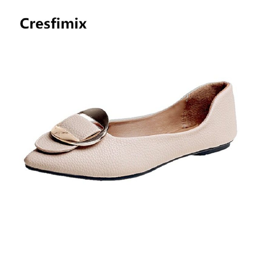 Cresfimix sapatos femininos women fashion black pu leather slip on flat shoes female spring & summer solid flats cute shoes cresfimix sapatos femininos women casual soft pu leather pointed toe flat shoes lady cute summer slip on flats soft cool shoes