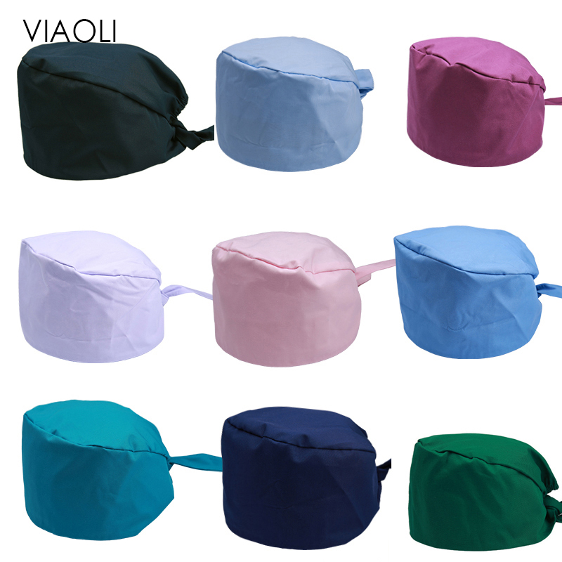 Hat+mask Solid Pharmacy Cap Nurse Doctor Surgical Hospital Adjustable Medical Surgery Caps Scrub Lab Clinic Dental Operation New