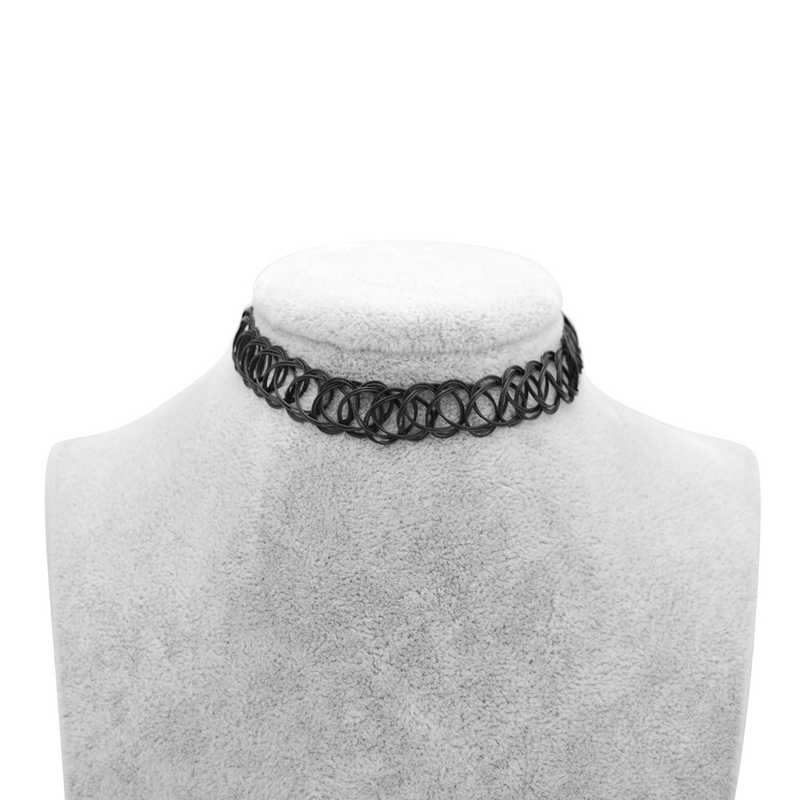 Hot New Stretch Vintage Choker Tattoo Necklace For Women Girl Charm Punk Retro Gothic Elastic Necklace Female Party Wedding Gift