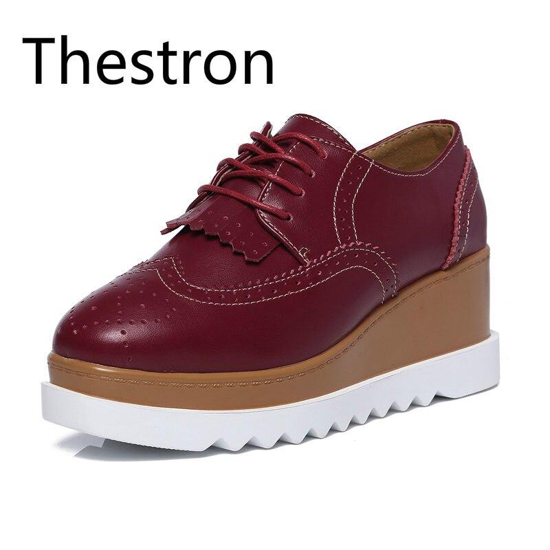 Thestron Femmes Chaussures Augmentation Haute Plate-Forme de Marche 2018 Rouge Noir Brun Dames Casual Chaussures Femmes Chaussures De Luxe 2018 D'été