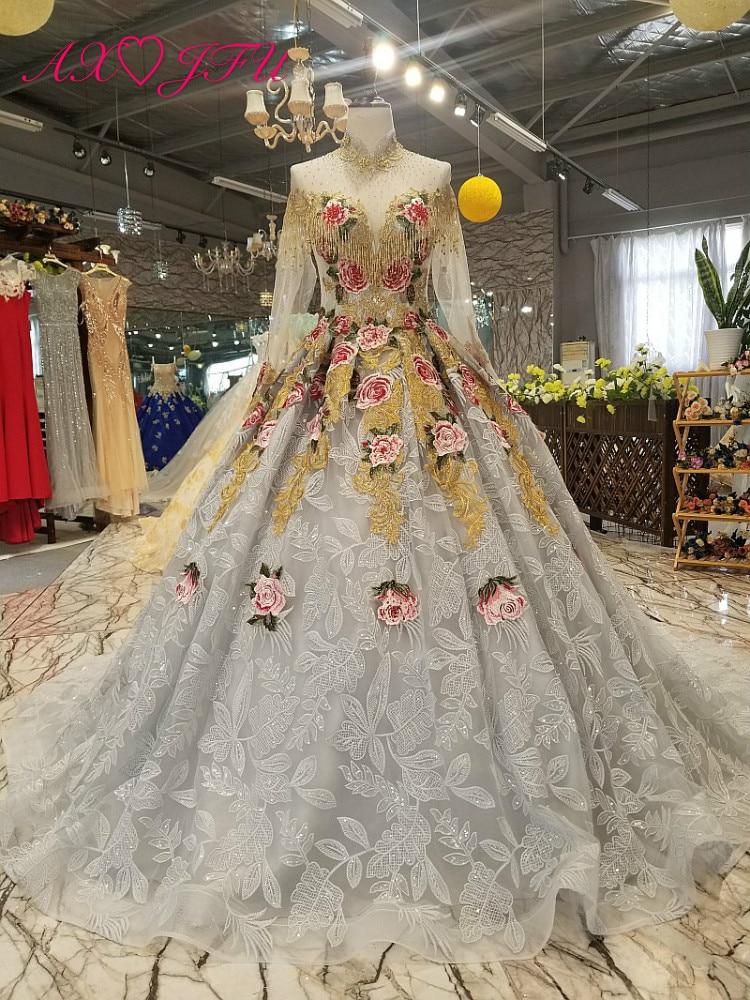 AXJFU Luxury princess grey lace beading embroidery flower wedding dress vintage high neck wedding dress 100% real photo 6471