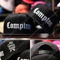 Nuevo 2016 moda hombre negro tapa cartas bordado compton snapback sombreros Hiphop Gorra de Béisbol Del Sombrero de Hip Hop Gorras Para Hombres Mujeres Huesos