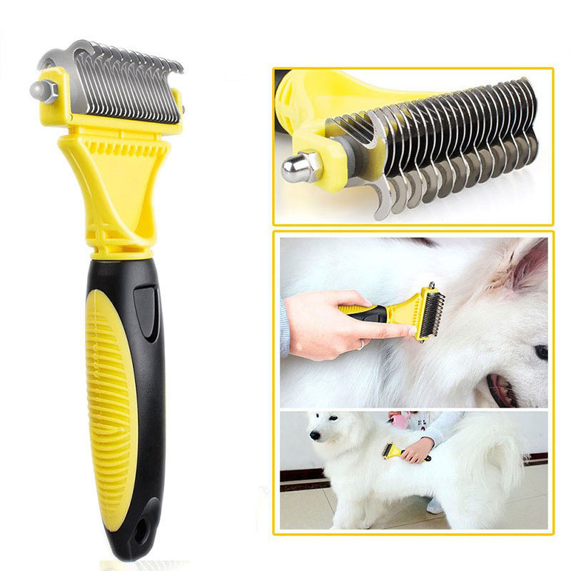 Double Side Pet Fur Dog Brush Comb Rake Hair Brush Cat Grooming Deshedding Trimmer Tool Dog Comb Pet Brush Rake 12/23 Blades