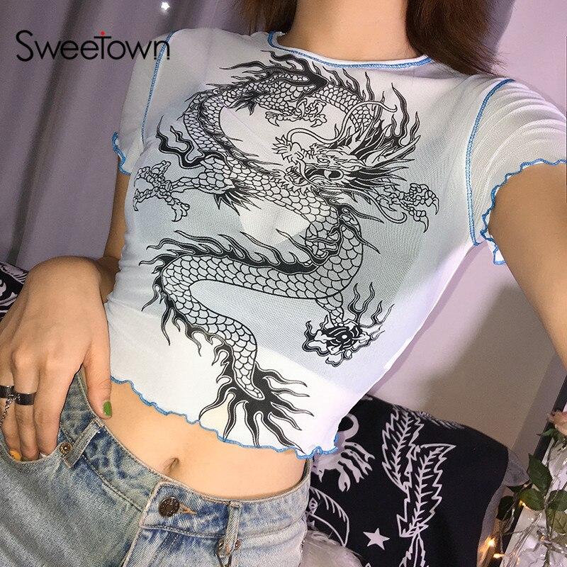 Sweetown Short Sleeve Sexy Mesh Transparent T Shirt Summer 2019 Harajuku Cute Dragon Graphic Tees Women Fashion Holiday Clothes