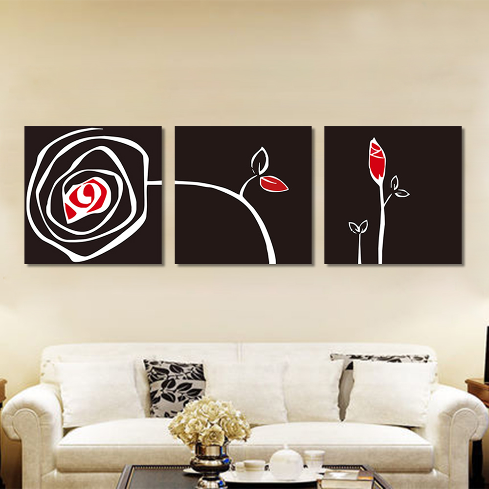 Unframed 3 Abstract Canvas Painting White Lines Rose Wall Art Decor Prints Wall Pictures For Living Room Wall Art Decoration