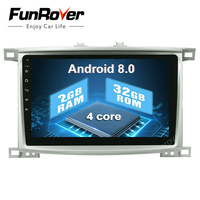 Funrover 10.1 inch Android 8.0 Car Radio Player GPS Navi For Toyota Land cruiser LC 100 1998 2006 Multimedia Headunit No DVD BT