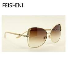 FEISHINI High Quality PC Lens Small Face Cat Eye Sunglasses Women Vintage UV400 Protect Eyesight Glasses Brand Designer