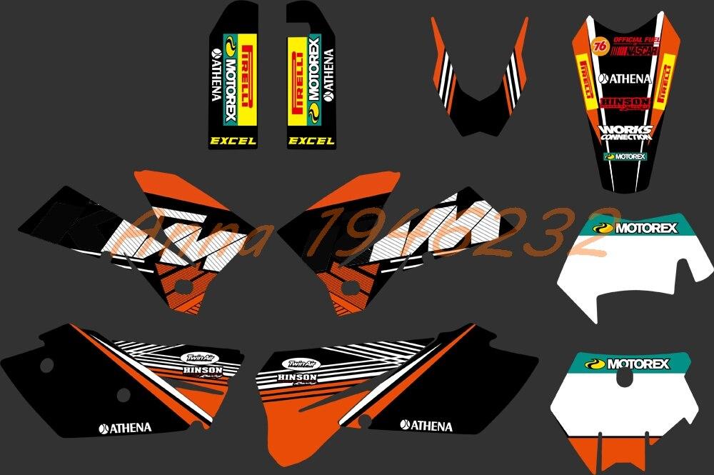 Chaude Équipe Graphics Delcas Autocollants Pour KTM 125 200 250 300 350 400 450 525 MXC SXF SX EXC XC 2005 2006 2007