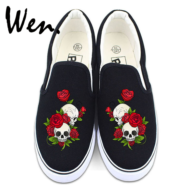 Вэнь Обувь с цветочным орнаментом Белый Черный Холст Кроссовки Оригинал Дизайн череп розы Для мужчин Для женщин слипоны на низком Туфли без...