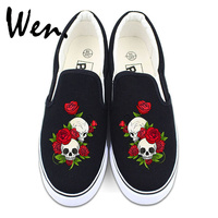 Wen Flower Shoes White Black Canvas Sneakers Original Design Skull Roses Men Women Slip On Low