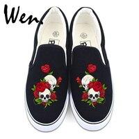 Wen Flower Shoes White Black Canvas Sneakers Original Design Skull Roses Men Women Slip On Low