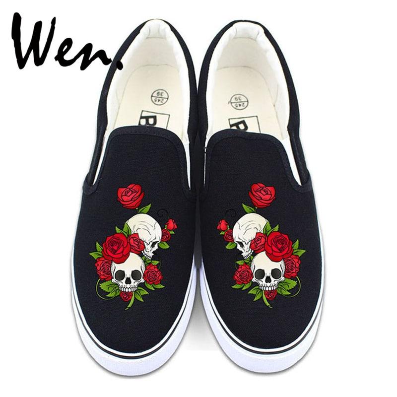 Wen Flower Shoes White Black Canvas Sneakers Original Design Skull Roses Men Women Slip on Low Flats Christmas Gifts