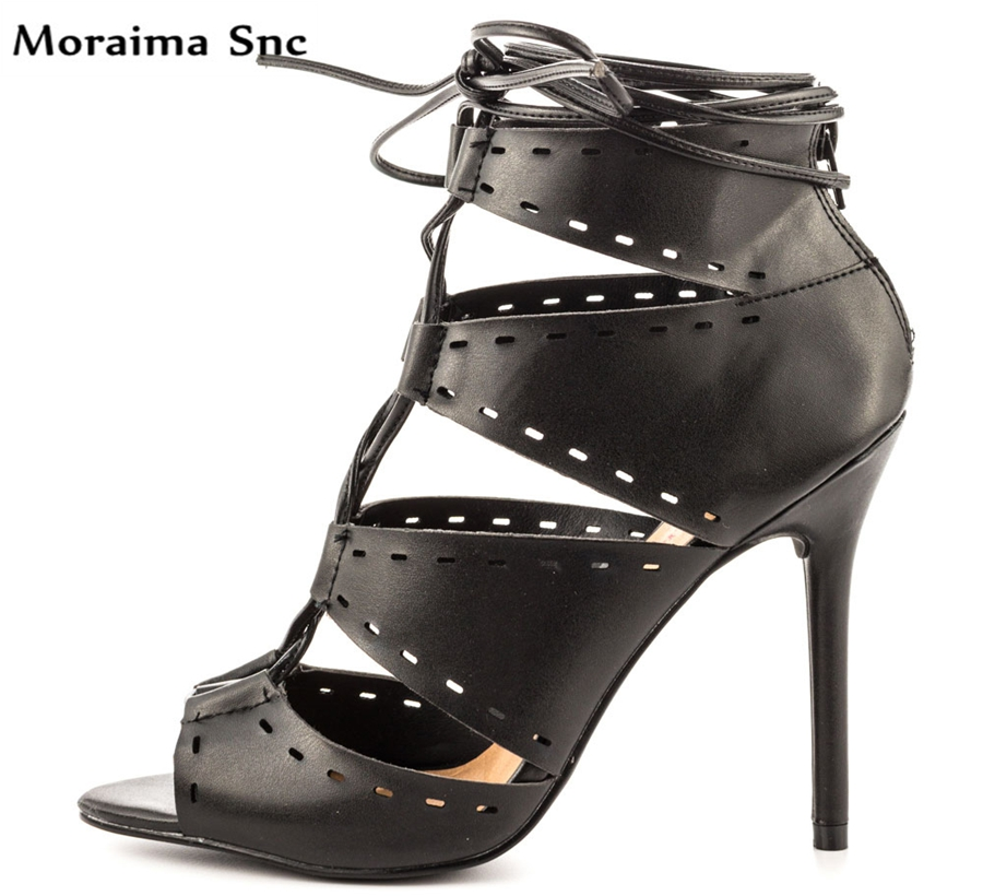 Moraima Snc Spring summer Newest fashion women boots peep toe lace-up Ankle Lace-up Sexy thin super high heel moraima snc spring summer newest fashion women boots peep toe lace up ankle lace up sexy thin super high heel