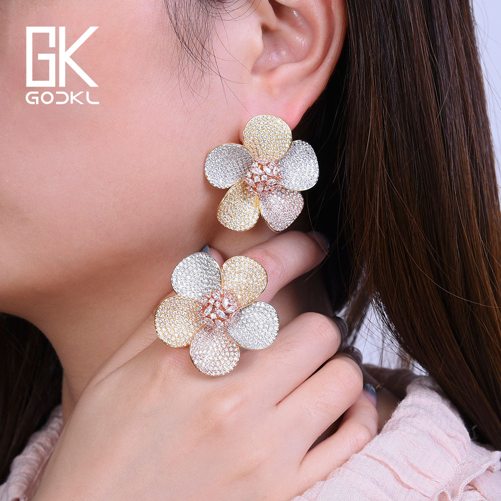 GODKI 40mm Luxury Boom Flower AAA Cubic Zirconia Brand New Engagement Resizable Ring Earring Jewelry Set For Women GODKI 40mm Luxury Boom Flower AAA Cubic Zirconia Brand New Engagement Resizable Ring Earring Jewelry Set For Women