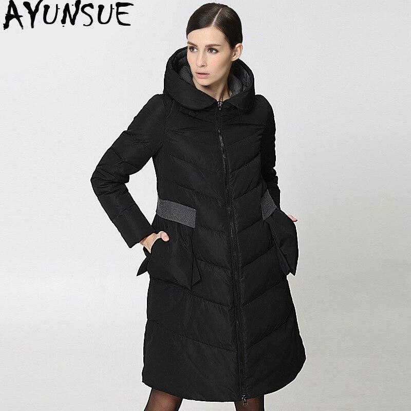 2019 Long   Down   Jacket Woman Hooded Winter   Coat   Puffer Jacket Women Korean Warm Duck   Down     Coats   Doudoune Femme Hiver 286 KJ2759