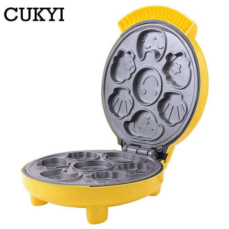 CUKYI Cartoon  Waffle Machine Upgrade Section Household Fully Automatic Mini  Cake Machine  Breakfast Cake Machine