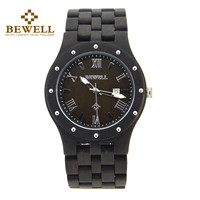 BEWELL Top Luxury Brand Analog Watches For Men Wooden Japen Import Quartz Clock Moment Time Wrist