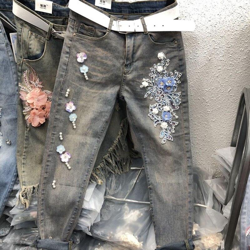 Pieds Femelle Pantalon Perlé Fleurs Neuf Broderie Travail Jeans Thai Rétro Blue Marée Lourd Paillettes Petit Mince Minceur A5R4jL