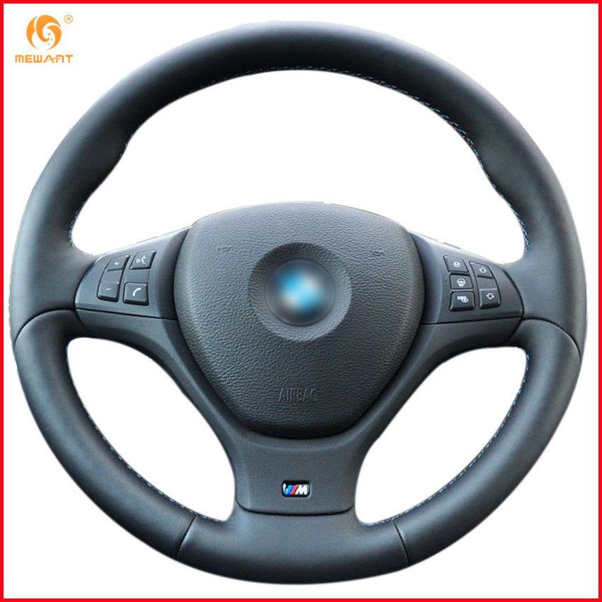 MEWANT Black Genuine Leather Car Steering Wheel Cover for BMW E71 X6 M 2010 2014 E70