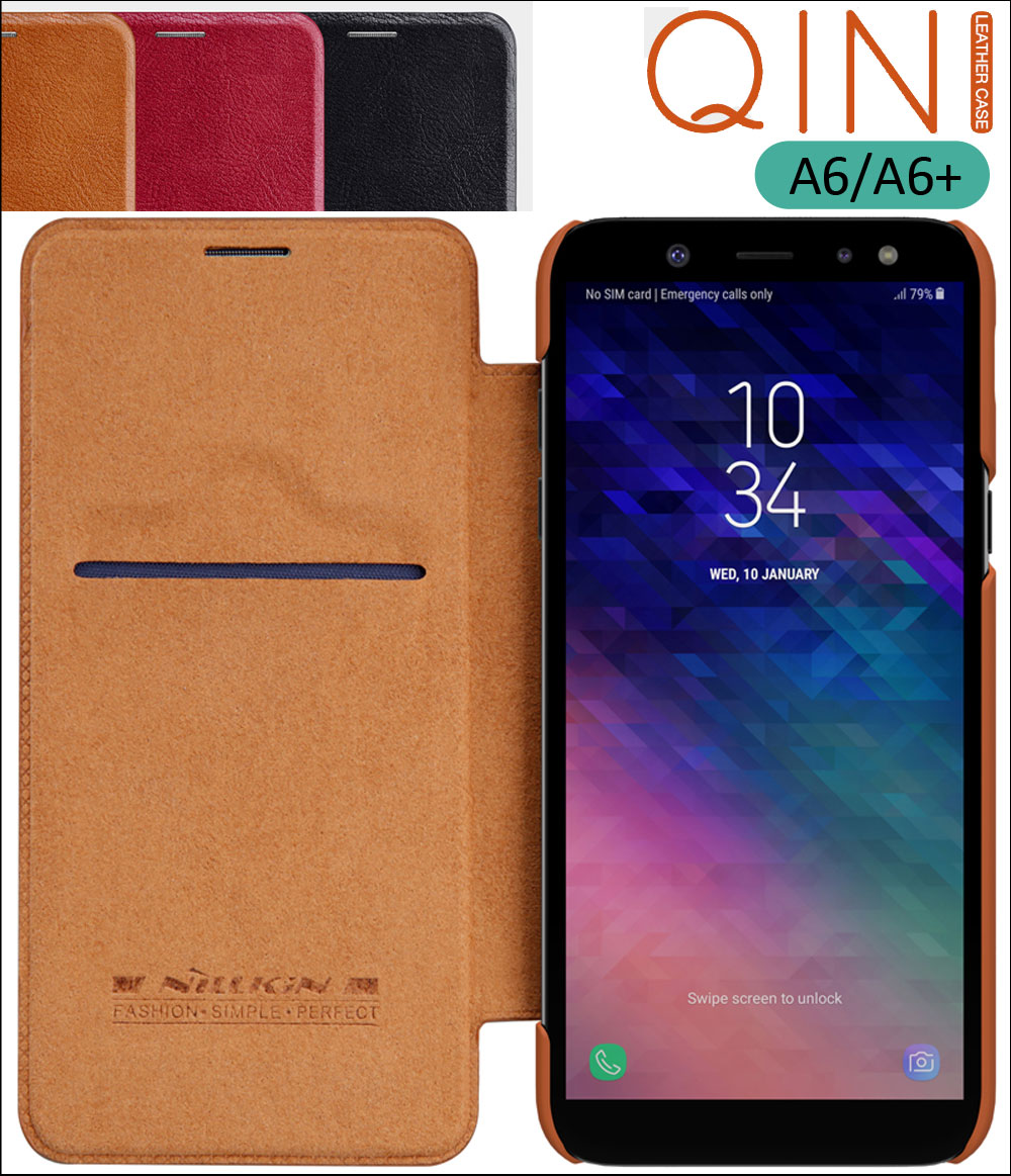 Nillkin Qin Flip Leather Case Cover For Samsung Galaxy A6 Plus A6+ 2018