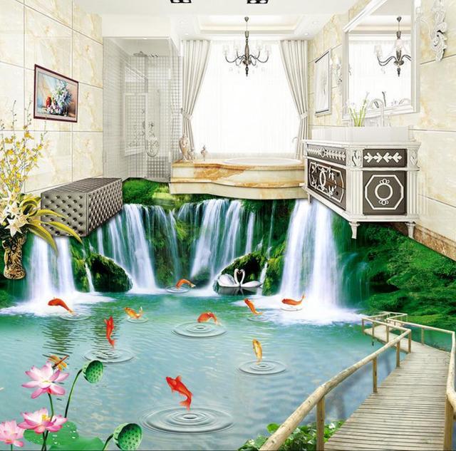 3D Boden Küche Benutzerdefinierte 3d Boden Holzbrücke Selbstklebende  Wasserdichte Boden Pvc Tapete Für Schlafzimmer