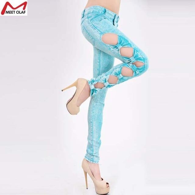 Women's large size Korean fashion leggings cowgirl Slim pants big yards  side bow denim leggings free ship  YL1188