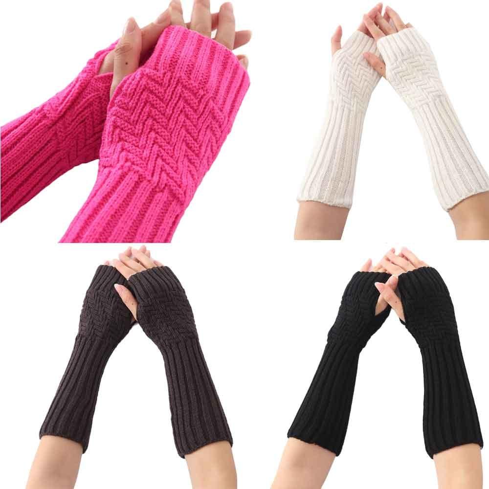 US Women Warm Knitted Fingerless Winter Gloves Soft Long Mittens Arm Warmers