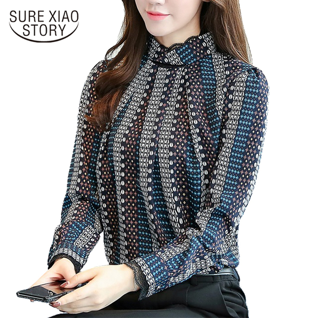 2018 New autumn long Sleeves Fashion Casual Chiffon Women Blouses shirt  striped Printed office lady blouse tops blusas C924 30 360c8ac6ef86