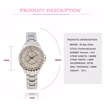 BS Brand Women Bracelet Watches Fashion Luxury Lady Rhinestone Wristwatch Ladies Crystal Dress Quartz Watch Clock Montre Femme