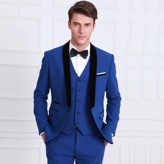 2018 One Button Royal Blue Groom Tuxedos Groomsmen Men\'s Wedding ...