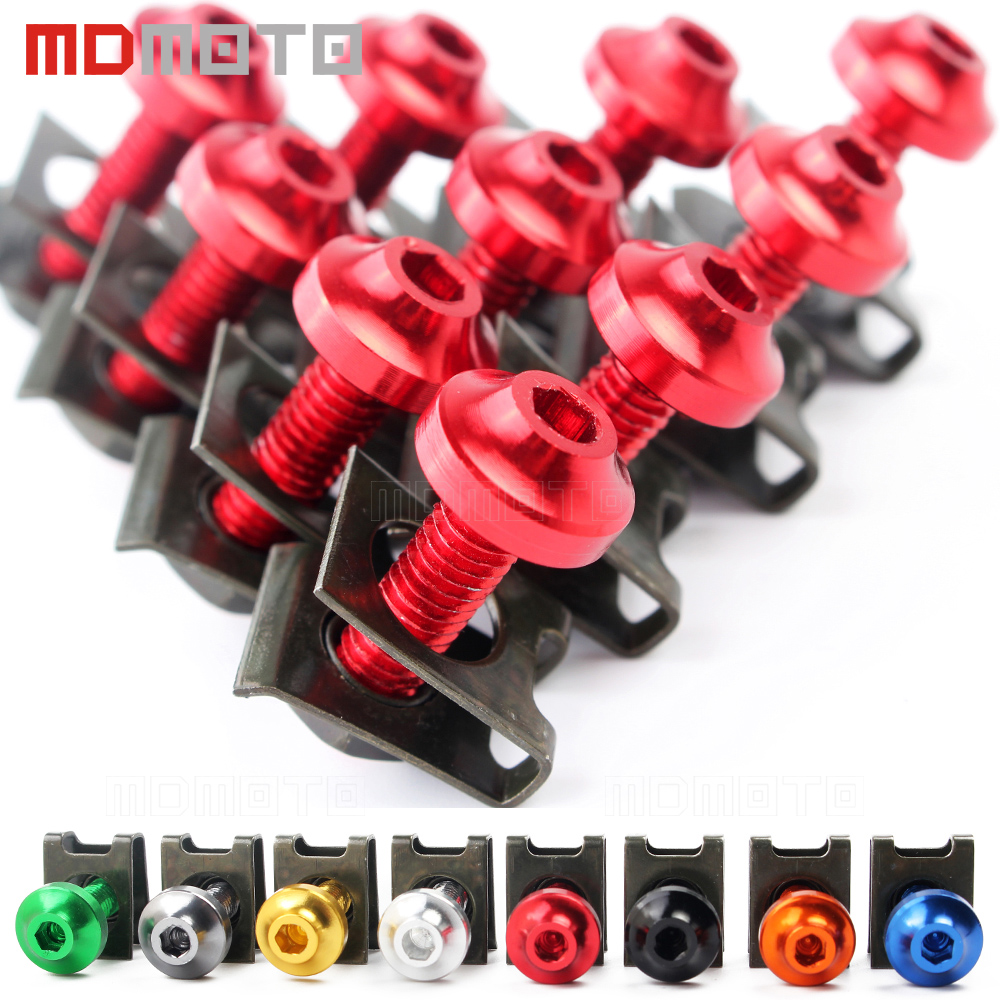 6mm M6 Fairing Body Work Bolts Spire Speed Fastener Clips Screw Spring Nuts 10PCS/lot For Yamaha TMAX 530 T MAX 500 Honda Triump