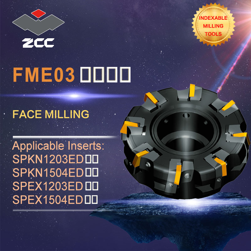 ZCC.CT original face milling cutters FME03 high performance CNC lathe tools indexable milling tools face milling tools popular cnc lathe machining center indexable square shoulder milling tools holder with high precision pe05 17b32 100 08