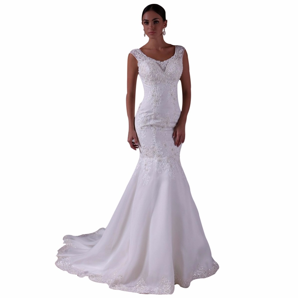 ZYLLGF Bridal Mermaid V Neck Vintage Wedding Dress
