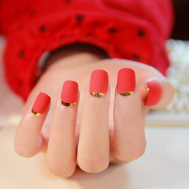 Online Shop New Lady Fire Red Matte Fake Nails Faux Ongles Metallic ...
