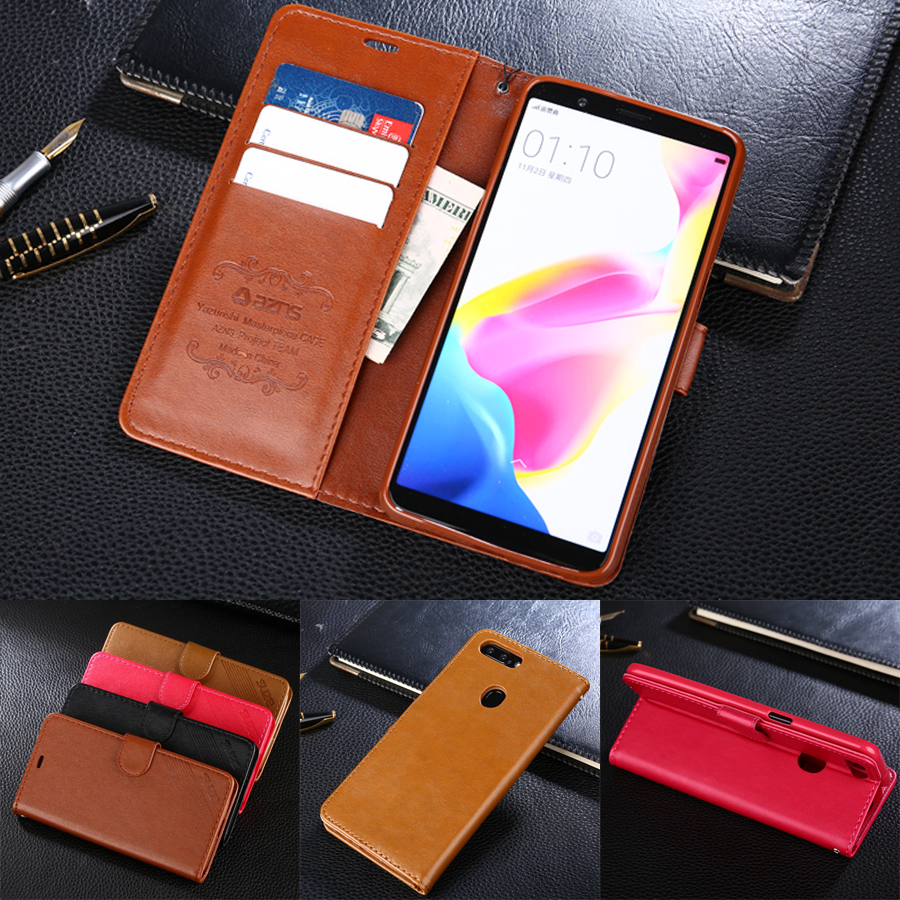azns Case For OPPO R11S 6.01 Luxury Wallet Leather Case Stand Flip Card Hold Phone Cover Bags For OPPO R11S