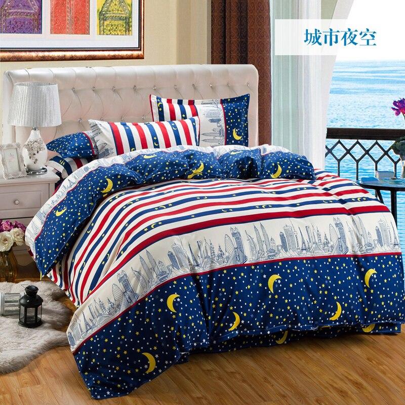 Refreshing Series / Jacquard  4pcs Bedding Sets Cotton Bed Sheet +duvet Cover + Pillowcases Housse De Couette Dekbedovertre15