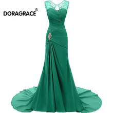 Doragrace Elegant Floor-Length Lace-Up Beaded Chiffon Long Evening Gowns Dresses