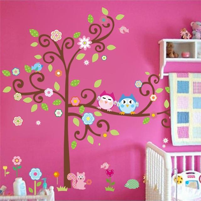 kawaii bhos rbol pegatinas de pared para la decoracin de la habitacin nios nursery cartoon nios with dibujos para decorar habitacion de bebe