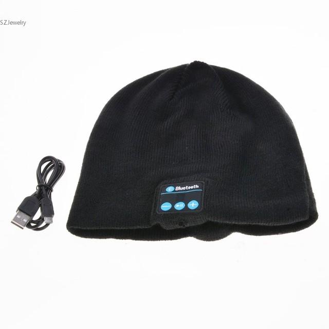 Casquillo Unisex Para Hombre Las Mujeres Suaves Sombreros de Punto Caliente Auricular Bluetooth para Auriculares Inalámbricos Auriculares de Alta Tecnología Inteligente Tapas sombrero