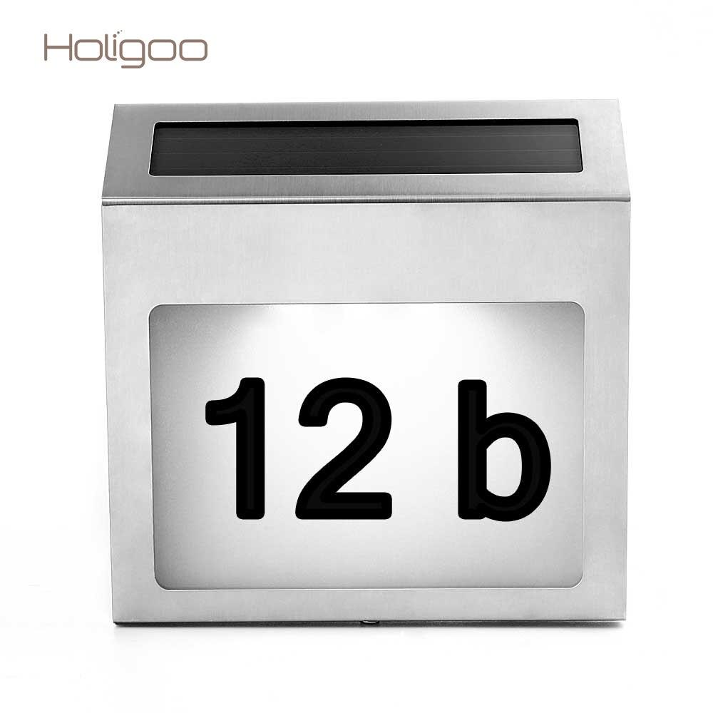 Holigoo Солнечный Мощность billboard светодиодный свет Doorplate нержавеющей номер дома номер квартиры свет лампы управлением Наружное освещение ...