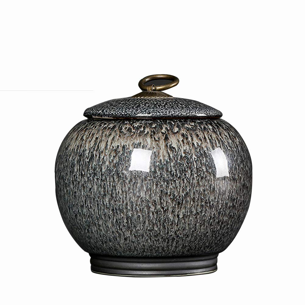 Gradient Gray Glaze Ceramic Funeral Pet Urn for Memorials Small Holds Up to 30 Cubic Inches