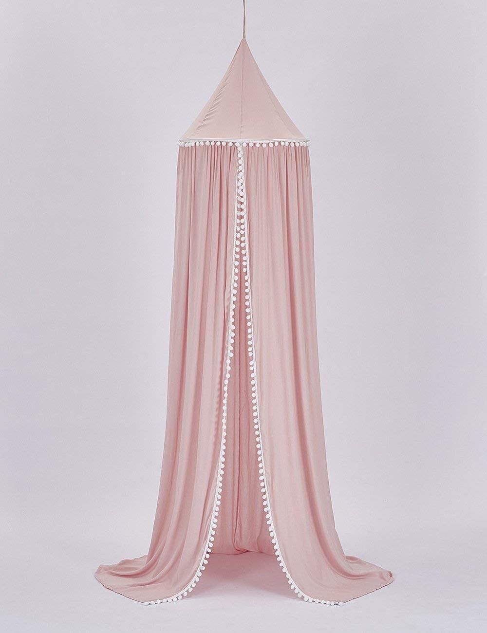 Пряжа шары детская кровать навес с помпонами Висячие/Москитная сетка для детской кроватки замок Игровая палатка детская игровая комната Декор - Цвет: Pink with pom pom
